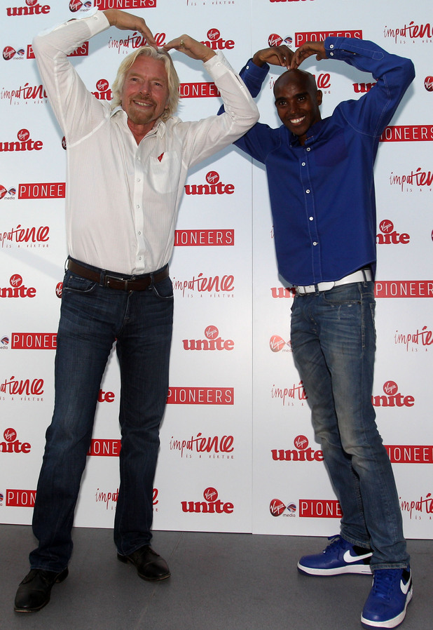 Sir Richard Branson and Mo Farah at the Impatience is a Virture Festival at the Royal Opera House, London.