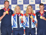 Mixed four rowing gold medal winners David Smith, Pamela Relph, James Roe and Naomi Riches at The Paralympic Ball, held at the Grosvenor House in London