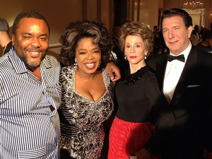 Lee Daniels, Jane Fonda, Oprah Winfrey and Alan Rickman shooting 'The Butler'