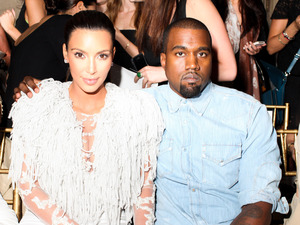Kim Kardashian and Kanye West at the Marchesa show at New York Fashion Week