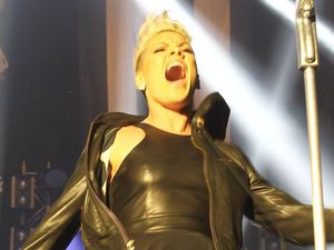 Pink performs her tour in Munich, Germany.