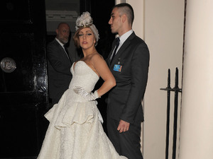 Lady Gaga arriving at The Arts Club wearing a stunning wedding dress, complete with tiara. London, England - 10.09.12 Mandatory Credit: Will Alexander/WENN.com
