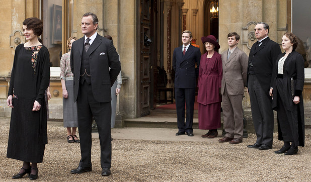 Elizabeth McGovern as Countess of Grantham, Cora, Hugh Bonneville as Earl of Grantham, Robert, Dan Stevens as Matthew, Penelope Wilson as Isobel, Allen Leech as Branson, Jim Carter as Mr Carson, Phylis Logan as Mrs Hughes in &#39;Downton Abbey&#39; Season 3, Episode 1.