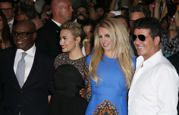 Judges L.A. Reid, Demi Lovato, Britney Spears and Simon Cowell arrive at The X Factor USA Season 2 premiere screening and handprint ceremony at Grauman&#39;s Chinese Theater, Los Angeles