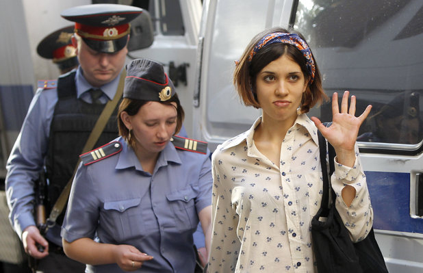 Nadezhda Tolokonnikova, right, a member of feminist punk group Pussy Riot