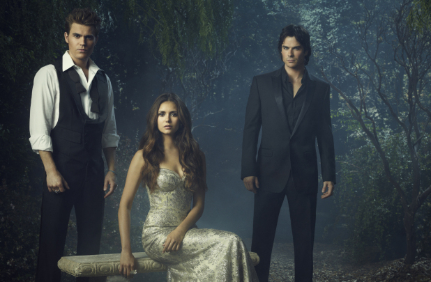 'The Vampire Diaries' Season 4 character portraits: Paul Wesley as Stefan, Nina Dobrev as Elena, and Ian Somerhalder as Damon.