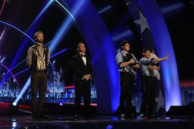 William Close, Tom Cotter and Olate Dogs at the final of America's Got Talent 2012