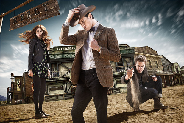 Doctor Who S07E03 - &#39;A Town Called Mercy&#39;: Amy Pond, The Doctor, Rory Williams