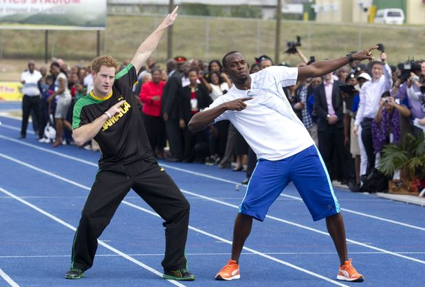 Prince Harry with Usain Bolt in Jamaica