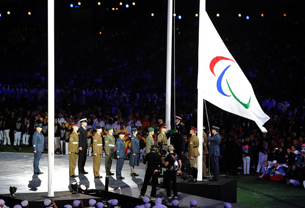 The Paralympic flag is lowered