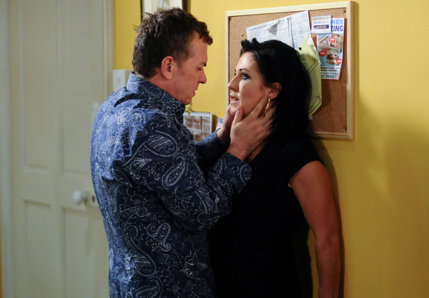 Alfie demands answers from Kat in EastEnders