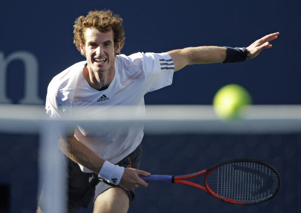 Andy Murray serves to Serbia's Novak Djokovic during the championship match at the 2012 US Open tennis tournament