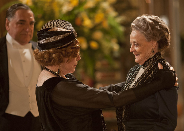 Jim Carter as Mr Carson, Shirley Maclaine as Martha Levinson, Maggie Smith as Dowager Countess of Grantham, Violet in 'Downton Abbey' Season 3, Episode 1.