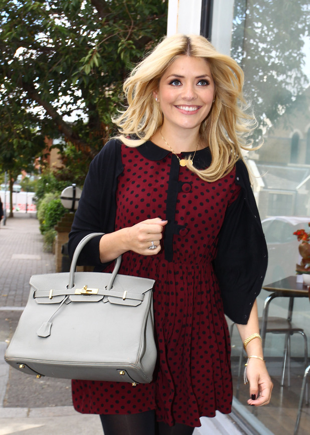 ***Exclusive*** Holly Willoughby arrives at the Celebrity Juice studios London, England - 12.09.12 Credit Mandatory: WENN.com