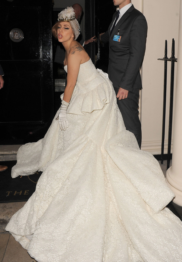 Lady Gaga arriving at The Arts Club wearing a stunning wedding dress