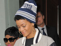 Rihanna is pictured wearing Trapstar's new range of Hitman clothing in London.