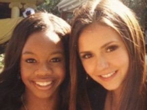Olympic athlete Gabby Douglas alongside Nina Dobrev on the set of 'The Vampire Diaries'