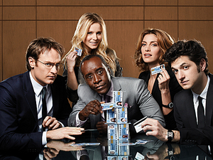 House of Lies: Josh Lawson as Doug, Kristen Bell as Jeannie Van Der Hooven, Don Cheadle as Marty Kaan, Dawn Olivieri as Monica, and Ben Schwartz as Clyde Oberholt