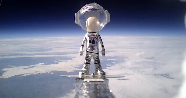 Mini astronaut Mojo Man on his trip into space