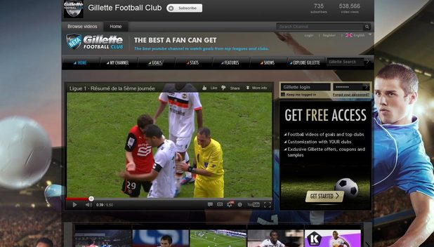 The Gillette Football Club YouTube channel - screenshot