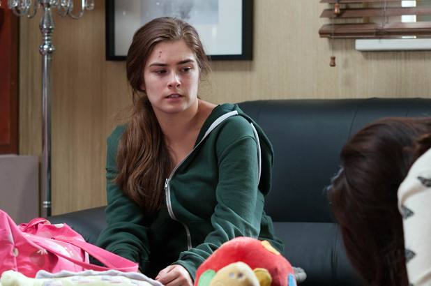 Nancy experiences pains in Hollyoaks