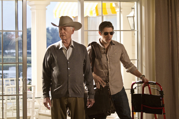 Larry Hagman as J.R. Ewing and Josh Henderson as John Ross Ewing