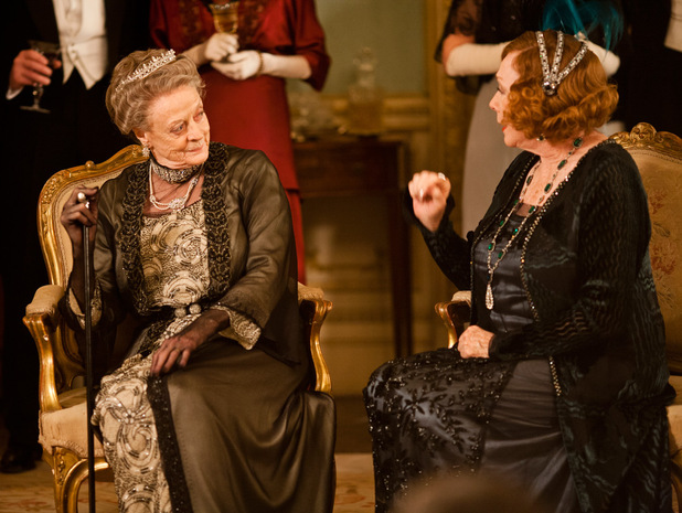 Maggie Smith as Dowager Countess of Grantham, Violet, Shirley MacLaine as Martha Levinson