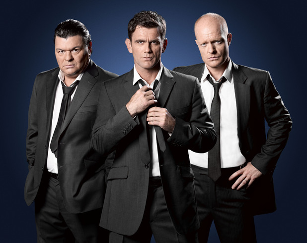 Scott Maslen, Jamie Foreman and Jake Wood as Jack Branning, Derek Branning and Max Branning in EastEnders.