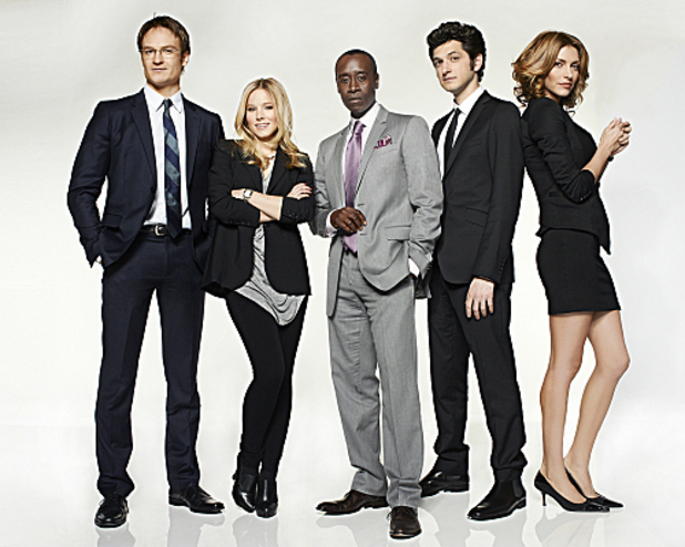 House of Lies: Ben Schwartz as Clyde Oberholt, Josh Lawson as Doug, Don Cheadle as Marty Kaan, and Kristen Bell as Jeannie Van Der Hooven