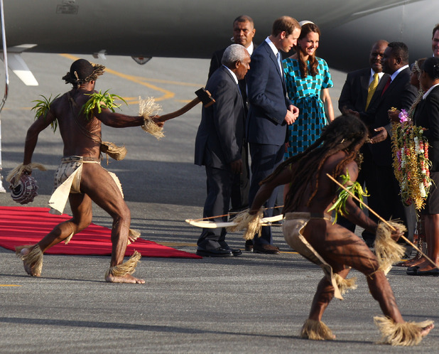 Duchess of Cambridge, Prince William, warriors in traditional dress dance, Honiara