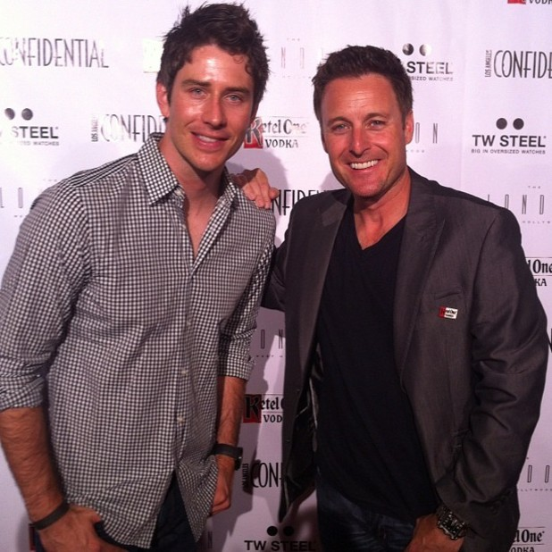 The Bachelor host Chris Harrison with Arie Luyendyk Jr