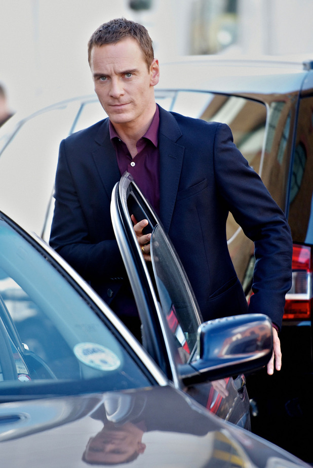 Michael Fassbender'The Counselor' filming at the Honda garage in Chiswick