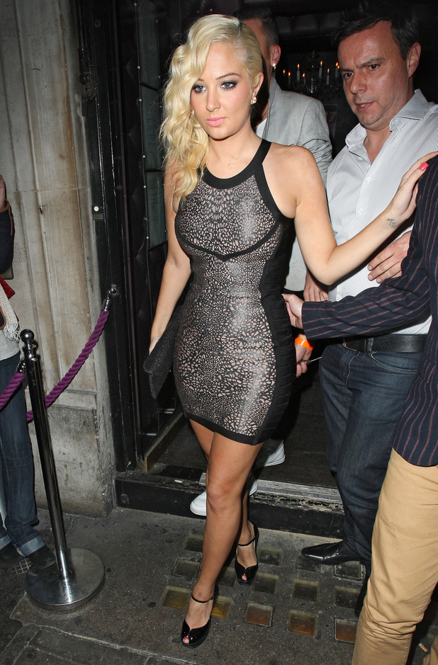 Tulisa Contostavlos  leaving the Freedom Bar in Soho