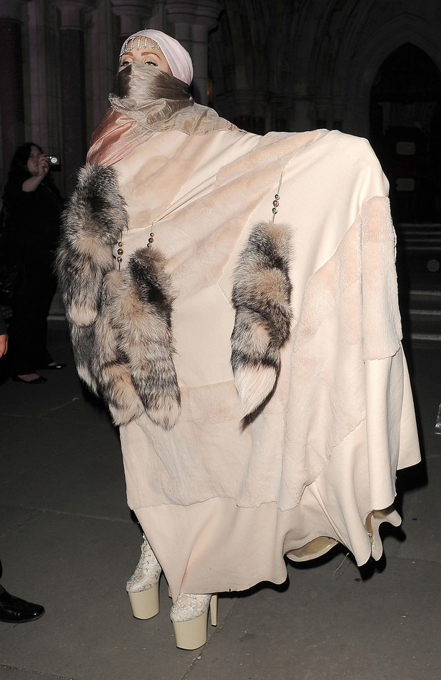 Lady GaGa at Philip Treacy's show at London Fashion Week 2012