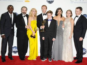 Claire Danes and Damian Lewis with the Homeland Cast at the 64th Annual Primetime Emmy Awards press room