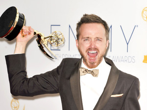 Aaron Paul with his Supporting Actor In A Drama Series award at the 64th Annual Primetime Emmy Awards press room