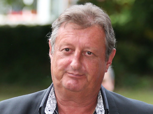 Eric Bristow, pictured with Andrew Flintoff at the funeral of darts commentator Sid Waddell, August 2012