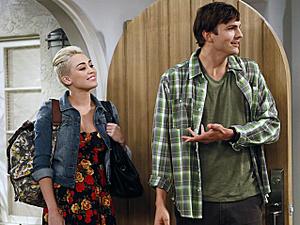 Miley Cyrus appearing in 'Two and a Half Men' alongside Ashton Kutcher