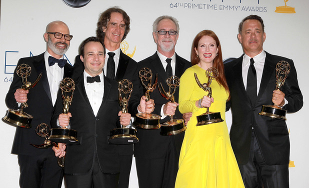 Danny Strong, Jay Roach, Gary Goetzman; Julianne Moore and Tom Hanks