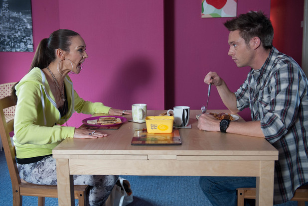 Jacqui confronts Rhys about last night's antics.