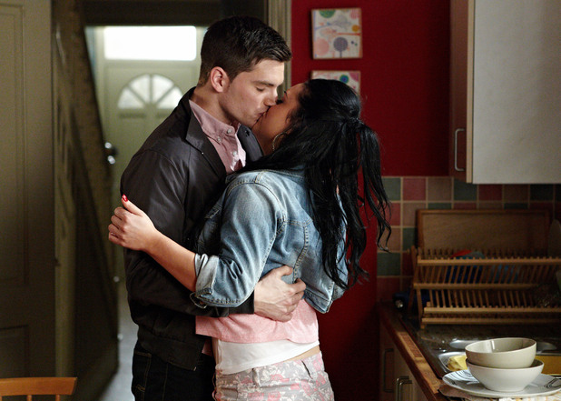 Joey Branning and Whitney Dean kiss in EastEnders