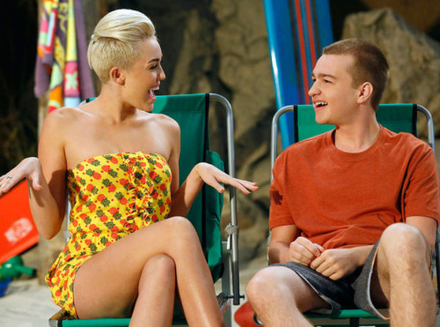 Miley Cyrus appearing in 'Two and a Half Men'