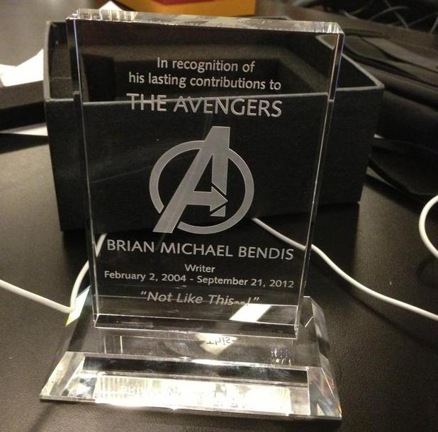 Brian Michael Bendis tweeted this image of a plaque presented to him by Marvel Comics, which dates the end of his work on the franchise as Friday, September 21