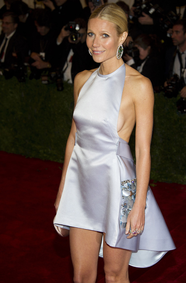 Gwyneth Paltrow, lilac metallic Prada minidress, Gwyneth Paltrow Metropolitan Museum of Art Costume Institute gala benefit