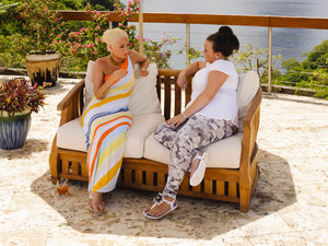 Amy Mottram and Tulisa at Judge's Houses in St Lucia for The X Factor