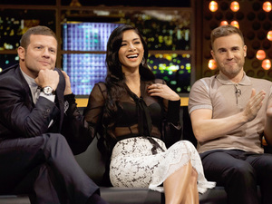 Nicole Scherzinger, Gary Barlow and Dermot O&#39;Leary.