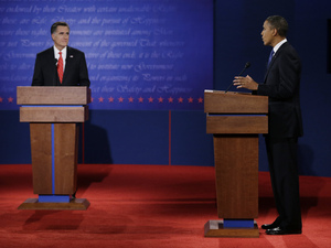 US president Barack Obama (DEM) and Massachusetts governor Mitt Romney (REP) at the first presidential debate of the 2012 election campaign - October 3, 2012