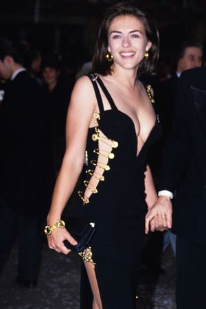 Elizabeth Hurley, Lady GaGa, Versace, Four Weddings and a Funeral premiere, 1994