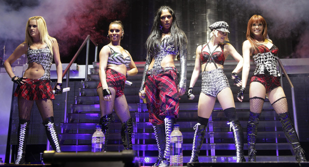 The Pussycat Dolls perform on stage at the O2 Arena in London (Tuesday January 27, 2009)