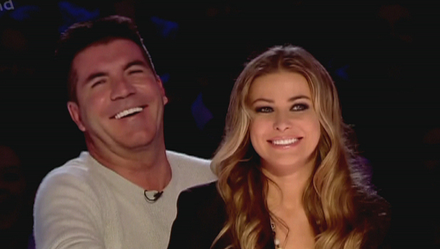Carmen Electra sitting on Simon Cowell&#39;s lap on &#39;Britain&#39;s Got More Talent&#39;, shown on ITV2England - 31.03.12
